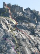 Rock Climbing Photo: upper part, unnamed in yellow