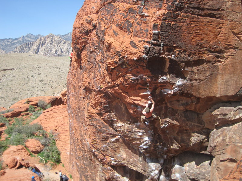 Rock Climbing Photo: Shooting for the jug after the crux clip