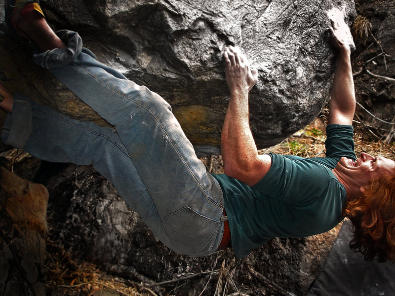 """Luke Childers on the technically powerful and polished lip moves that link the (SDS) of """"Carrera GT (V10)"""" to the finishing section of """"Carrera (V8).""""  Much better climbing than I had expected!!  I give it stars!!"""