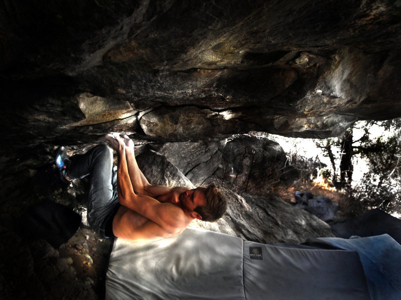 Rock Climbing Photo: Tom gearing up for the powerful and painful roof c...