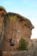 Rock Climbing Photo: Realm of the Freaks, a huge grit style boulder lik...