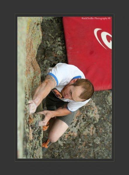 Rock Climbing Photo: Cory on the School Of Elk Boulder