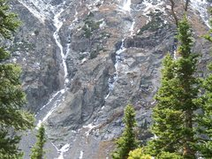 Rock Climbing Photo: Claim Jumper is on the right with the descent coul...