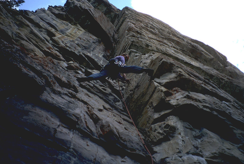 a 2 pitch 5.10 trad, one of the routes close to lake,