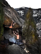Rock Climbing Photo: Jason Baker squeezing and pulling to gain the fina...