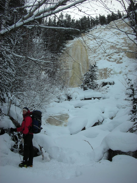 Orient Bay, Ontario. Kate Muehling in front of Go Mar, 2 Feb '10<br>