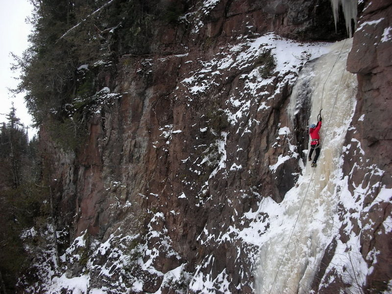 Kate Muehling on lower section of Cascade icefall, 10 Jan '10<br>