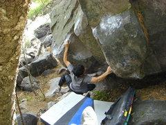Rock Climbing Photo: RV sticking the crux with ninja like skills.