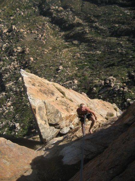 Rock Climbing Photo: Rappelling; Triton tower below