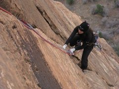 Rock Climbing Photo: on 'The Headache'.  Zion, UT