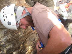"Rock Climbing Photo: Nate gearing up to lead P1 of ""Group Therapy&..."