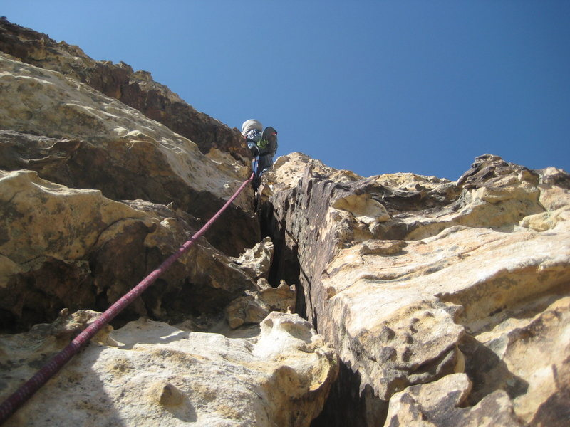 Nate headed up the the belay sta. on P1 of Group Therapy