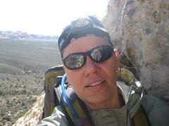 Rock Climbing Photo: happy to be climbing...finally.  At the belay sta....