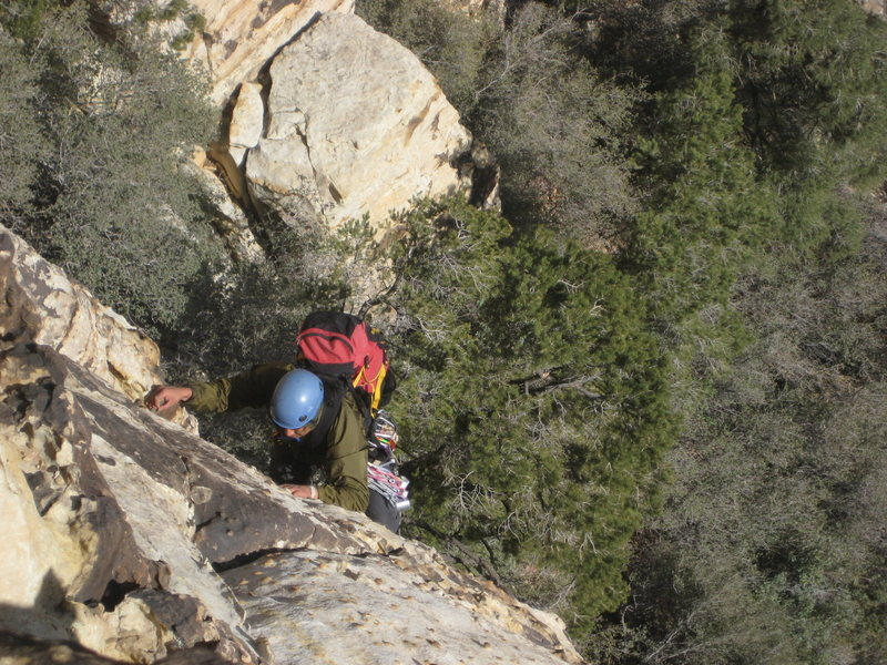 Albert coming up to the belay sta. on P1 of Group Therapy