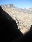 Rock Climbing Photo: enjoying the view up on P4 (Group Therapy) after e...