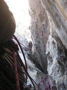 Rock Climbing Photo: ...here comes Rasta Raj up to P4 to join Albert, m...