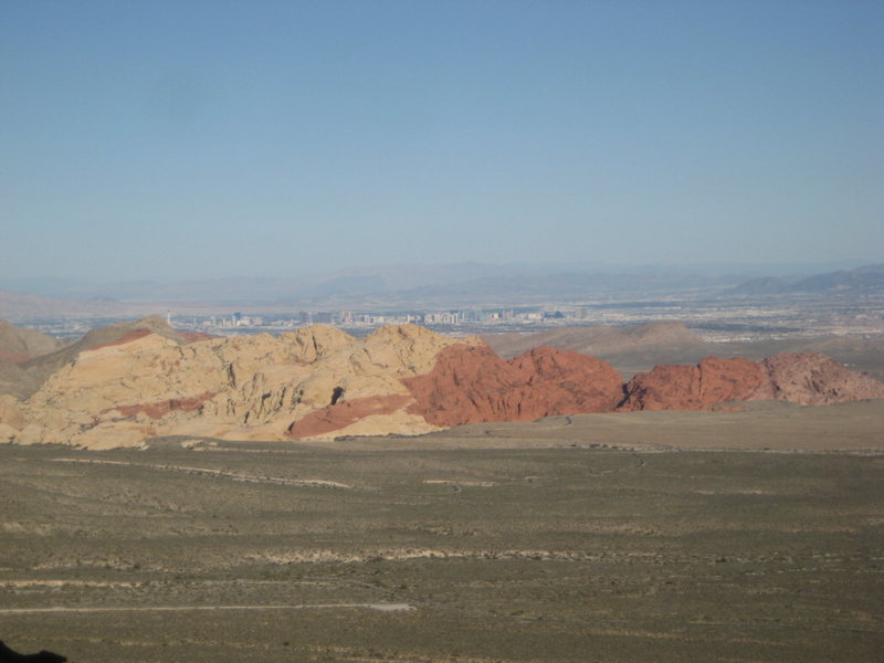 View across the valley, Red Rocks, NV with the Las Vegas strip behind