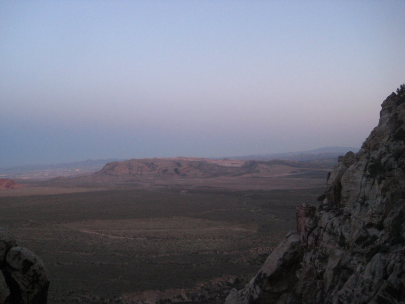 Rock Climbing Photo: view of the valley below as the sun sets, Red Rock...