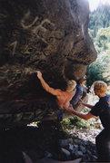 Rock Climbing Photo: Nate making the big reach.