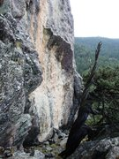 Rock Climbing Photo: The route starts off the pointy boulder left of th...