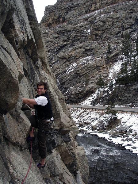 "John Morgan starting up the ""Creek Side"" classic....  ""Fish and Chips (5.10-).""  4 Star classic man!!  Nice climbing, John.  Good day, bro!!!"