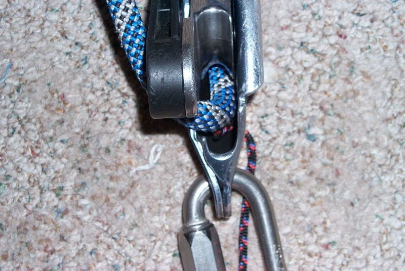 Rock Climbing Photo: Rope catches lever.