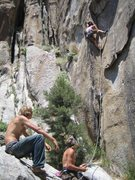 "Rock Climbing Photo: Me on the first pitch of ""Splitter"""