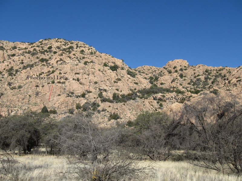 Rock Climbing Photo: The one climb on the rock takes the red line betwe...