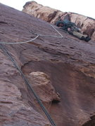 Rock Climbing Photo: third pitch before the long runout.  A fall above ...