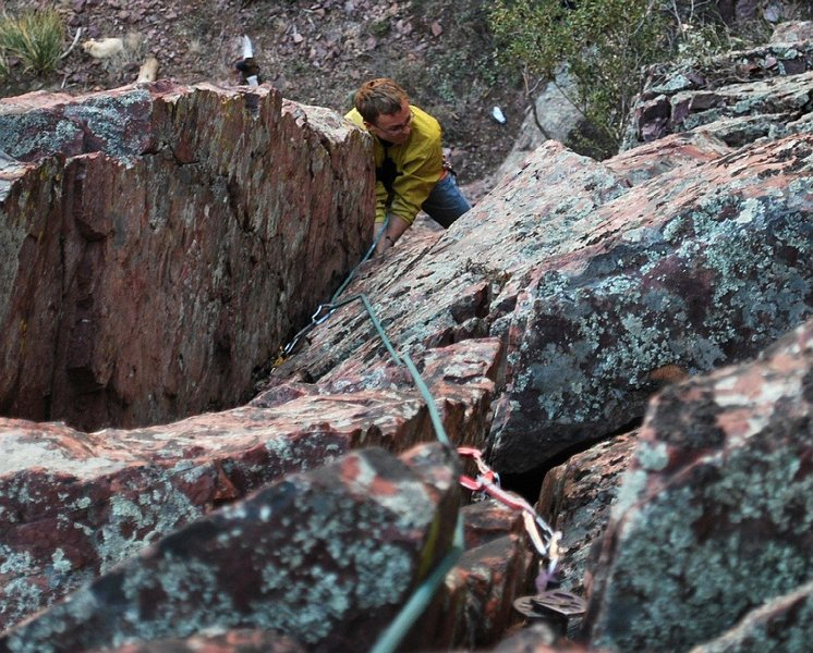 Rock Climbing Photo: Patrick on the second pitch crux, an overhanging h...