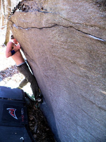 "Steve Lovelace testing his fingers on the start of the ""Midnight Reverie Traverse"" project..."
