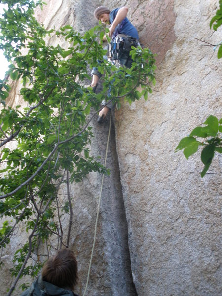 Rock Climbing Photo: Fun short ow lieback crack straight across from &q...