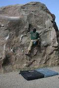 Rock Climbing Photo: Albert on boulder 1.  4-3-10