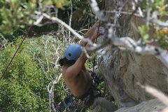 Rock Climbing Photo: Albert on upper part of The Potholes. Get a little...