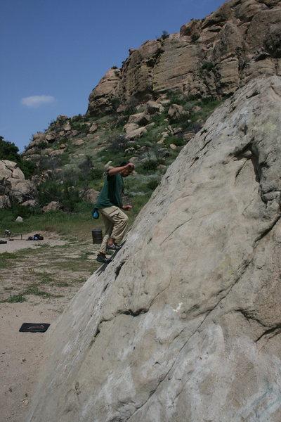 Albert working on balance on Slant Rock.  4-3-10