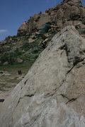 Rock Climbing Photo: Albert working on balance on Slant Rock.  4-3-10