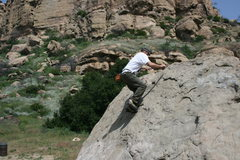 Rock Climbing Photo: Me working on balance on Slant Rock.  4-3-10