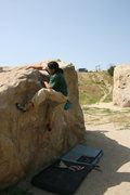 Rock Climbing Photo: Albert on the back side of Slant Rock.  4-3-10