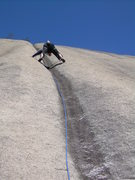 Rock Climbing Photo: The second pitch with the only bolt safely clipped...