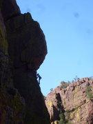 Rock Climbing Photo: Jess stepping upwards!