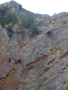 Rock Climbing Photo: Manny flashing the crux on the FA!