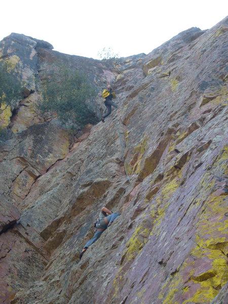 Rock Climbing Photo: Manny's stellar belay technique!