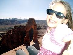 Rock Climbing Photo: Celi at Delicate Arch. Spring break, Moab. 2010.