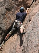 Rock Climbing Photo: Following the crack just above the base of the rou...