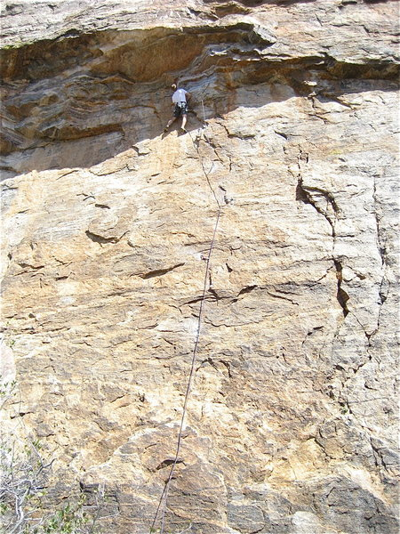 Doug working the crux.  The cracks you see down and right of him are the bottom or Nancy Boys Nightmare.