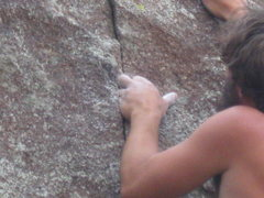 "Rock Climbing Photo: Dave on the finger-lock crux of ""Twinkie&quot..."