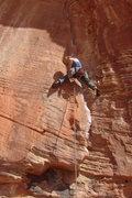 Rock Climbing Photo: Monica starting up Cut Loose.