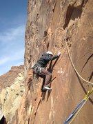 Rock Climbing Photo: Lance starting the steep 200' desperate P2 5.11+