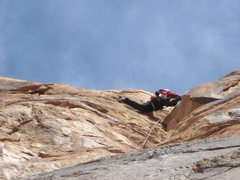 Rock Climbing Photo: Tele Photo of Ben midway up P2