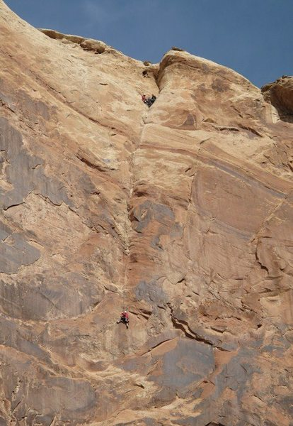 Tele Photo of Paul on P2 Ben and Lance on belay.Photo Maura Hahnenberger.